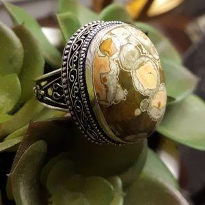 *Sale* Ocean Jasper Antique Design 925 Silver Ring